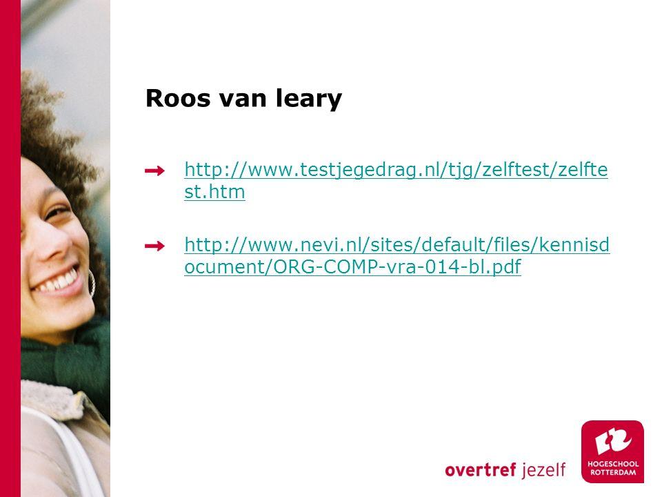 Roos van leary http://www.testjegedrag.nl/tjg/zelftest/zelfte st.htm http://www.nevi.nl/sites/default/files/kennisd ocument/ORG-COMP-vra-014-bl.pdf
