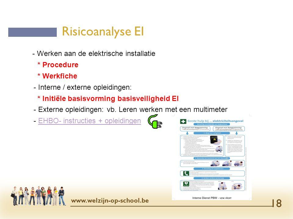 - Werken aan de elektrische installatie * Procedure * Werkfiche - Interne / externe opleidingen: * Initiële basisvorming basisveiligheid EI - Externe