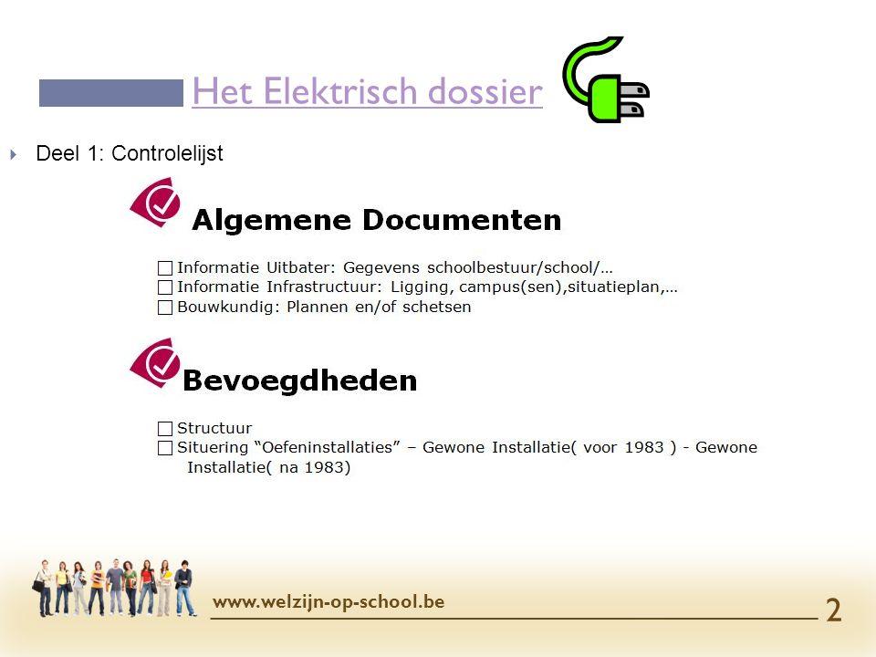  Deel 1: Controlelijst Het Elektrisch dossier www.welzijn-op-school.be 2