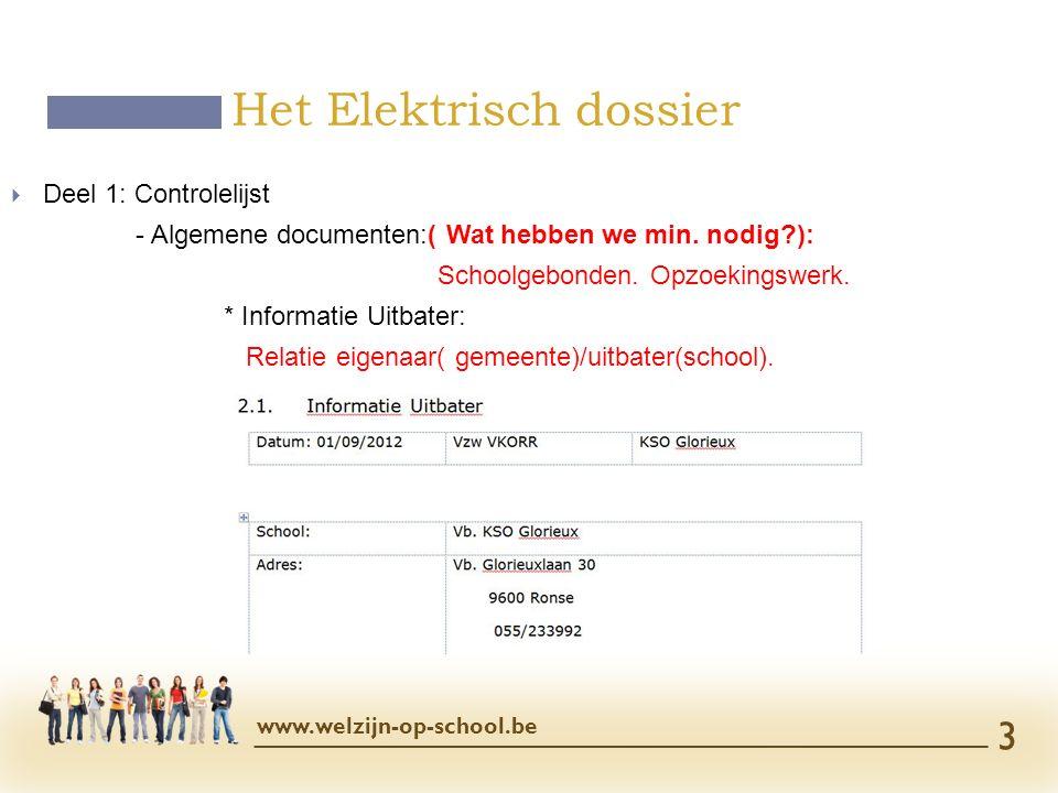  Deel 1: Controlelijst - Algemene documenten:( Wat hebben we min. nodig?): Schoolgebonden. Opzoekingswerk. * Informatie Uitbater: Relatie eigenaar( g