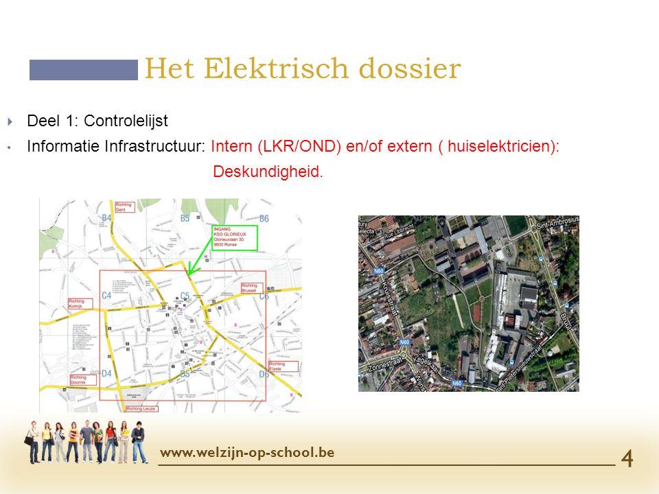  Deel 1: Controlelijst Informatie Infrastructuur: Intern (LKR/OND) en/of extern ( huiselektricien): Deskundigheid. Het Elektrisch dossier www.welzijn