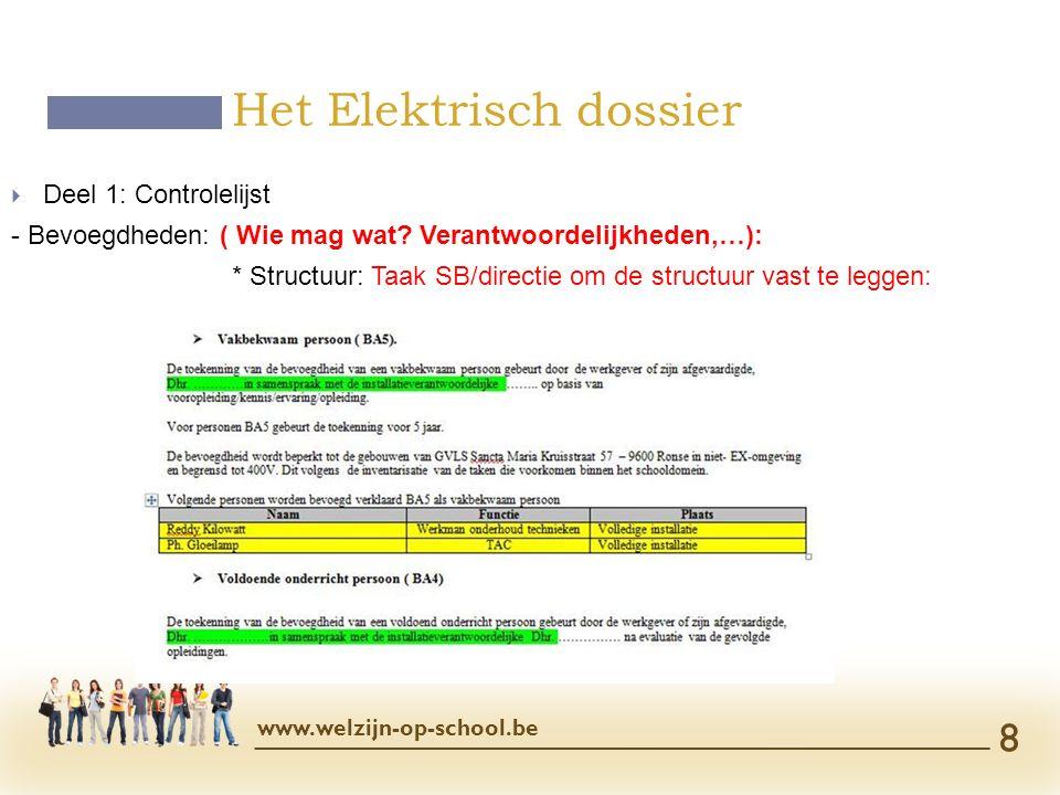  Deel 1: Controlelijst - Bevoegdheden: ( Wie mag wat? Verantwoordelijkheden,…): * Structuur: Taak SB/directie om de structuur vast te leggen: Het Ele