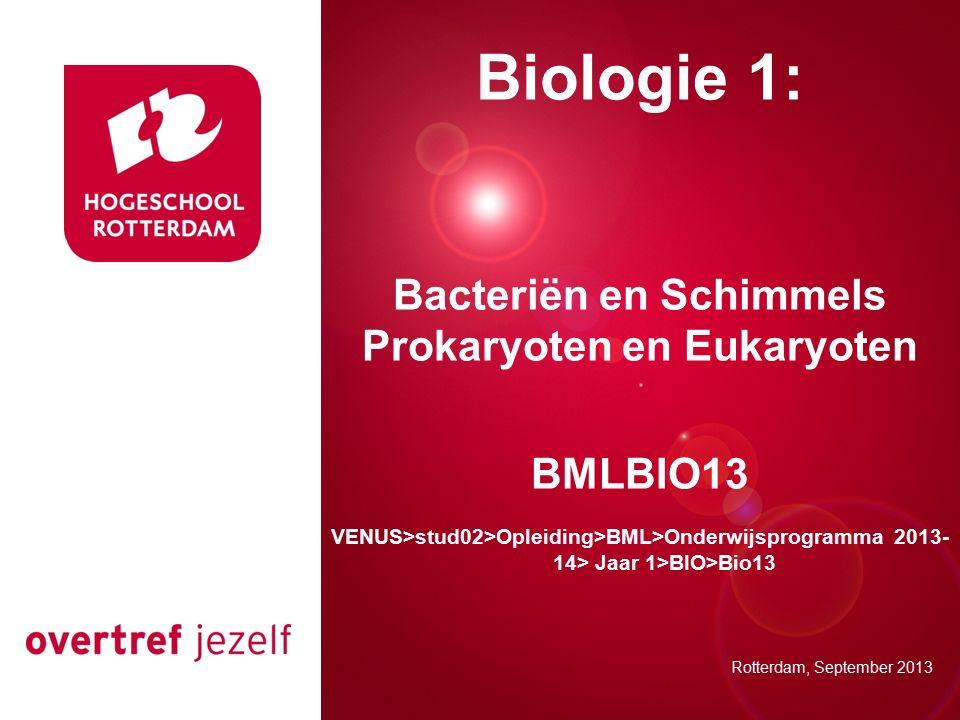 Presentatie titel Rotterdam, 00 januari 2007 Biologie 1: Bacteriën en Schimmels Prokaryoten en Eukaryoten BMLBIO13 VENUS>stud02>Opleiding>BML>Onderwijsprogramma 2013- 14> Jaar 1>BIO>Bio13 Rotterdam, September 2013