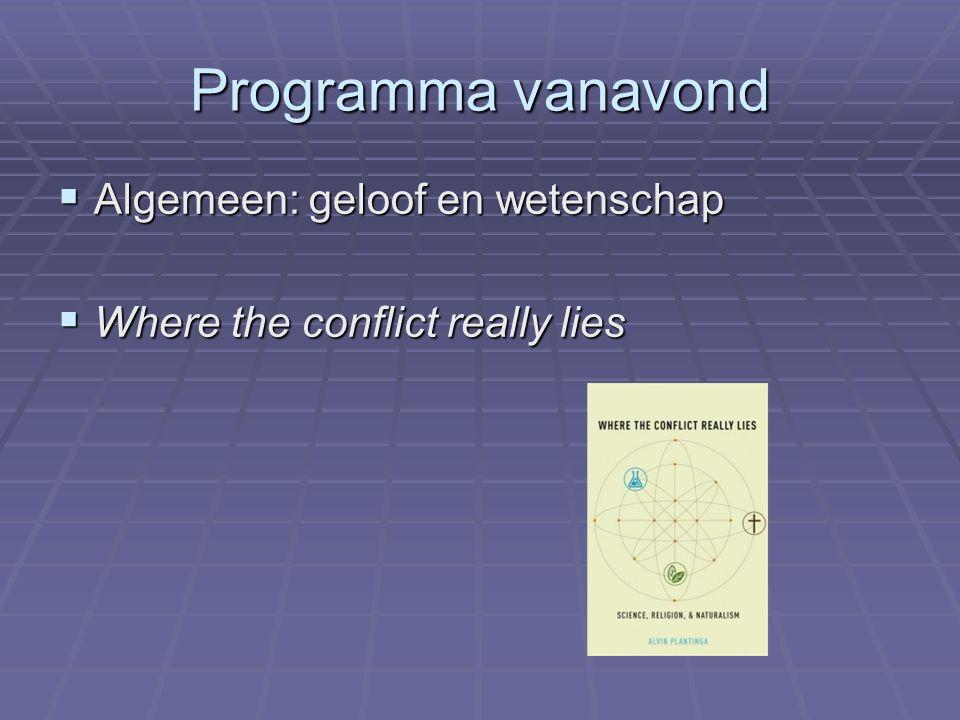 Programma vanavond  Algemeen: geloof en wetenschap  Where the conflict really lies