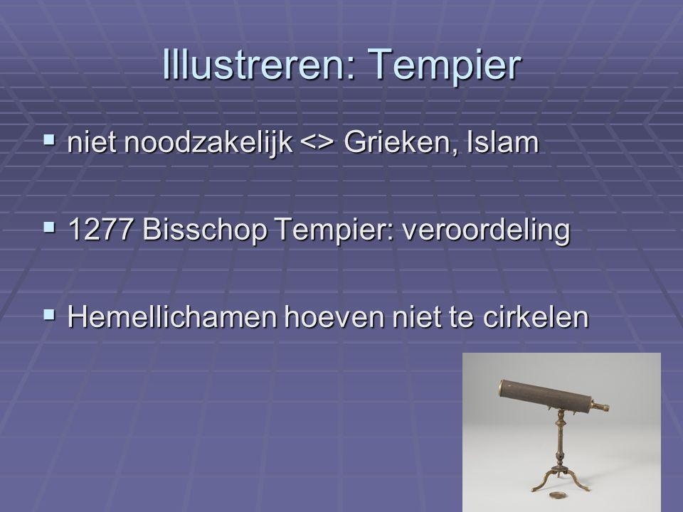 Illustreren: Tempier  niet noodzakelijk <> Grieken, Islam  1277 Bisschop Tempier: veroordeling  Hemellichamen hoeven niet te cirkelen