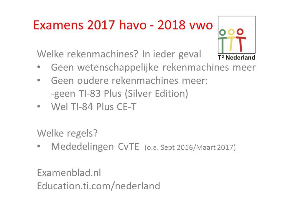Examens 2017 havo - 2018 vwo Welke rekenmachines.