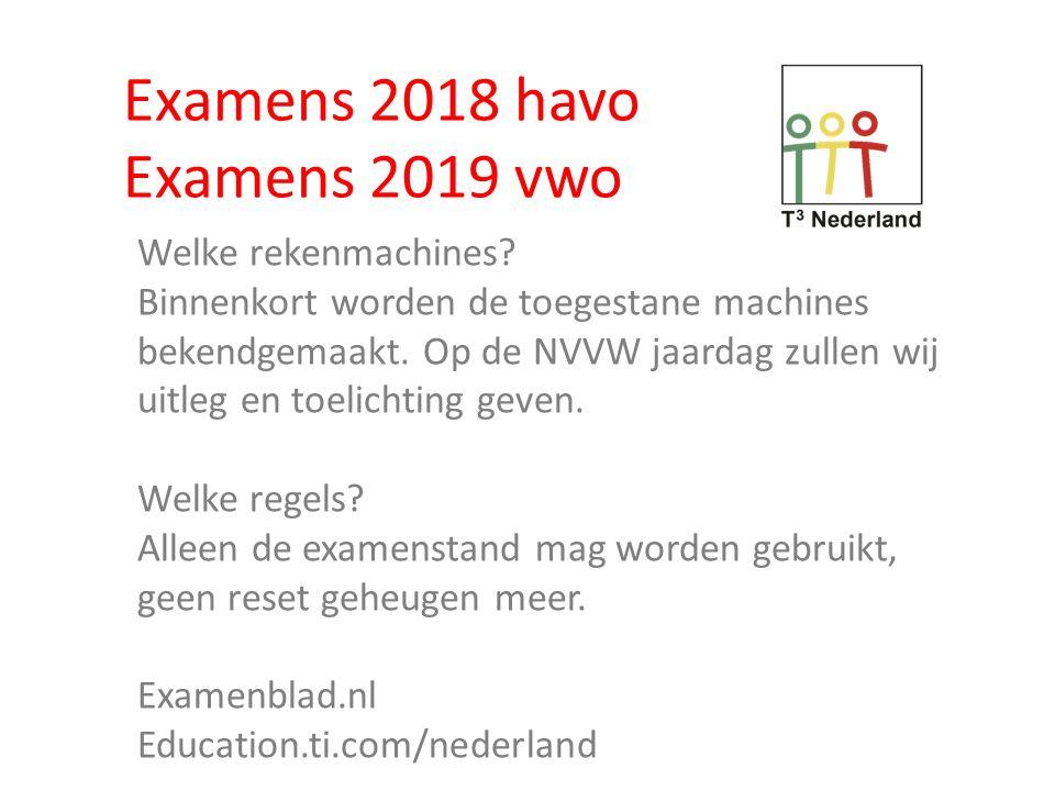 Examens 2018 havo Examens 2019 vwo Welke rekenmachines? Binnenkort worden de toegestane machines bekendgemaakt. Op de NVVW jaardag zullen wij uitleg e