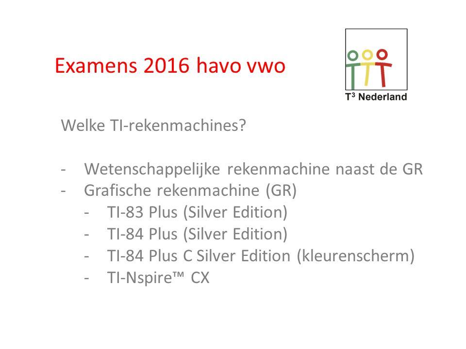 Examens 2016 Welke regels.