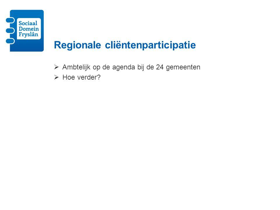 Regionale cliëntenparticipatie  Ambtelijk op de agenda bij de 24 gemeenten  Hoe verder?