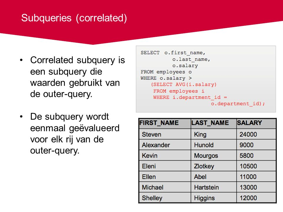 Subqueries (correlated) Correlated subquery is een subquery die waarden gebruikt van de outer-query.