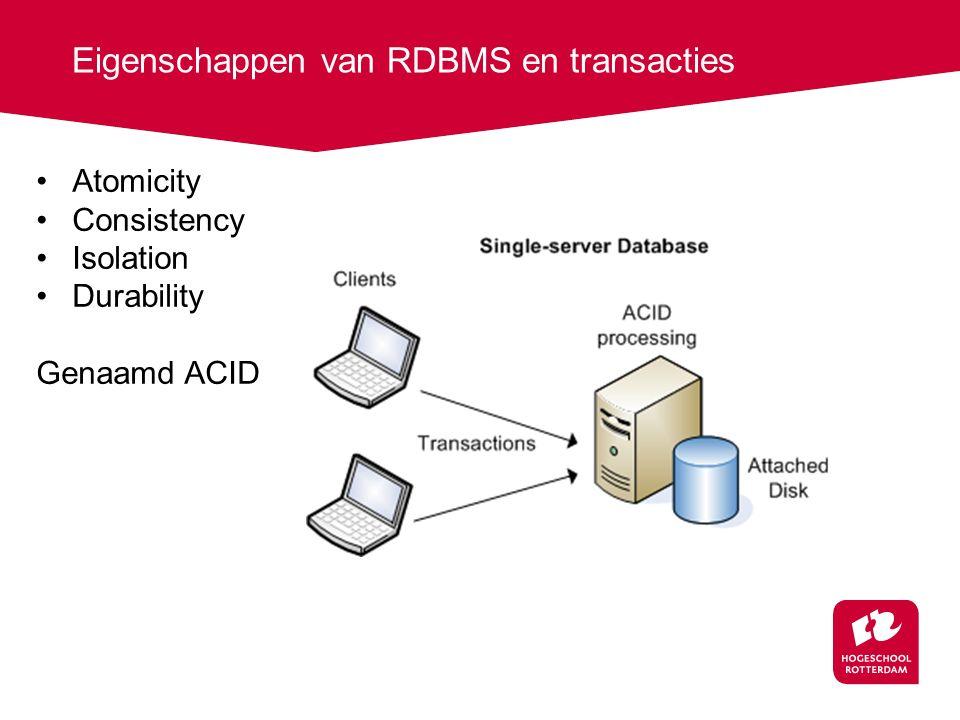 Eigenschappen van RDBMS en transacties Atomicity Consistency Isolation Durability Genaamd ACID