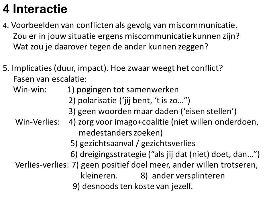 4 Interactie 4. Voorbeelden van conflicten als gevolg van miscommunicatie. Zou er in jouw situatie ergens miscommunicatie kunnen zijn? Wat zou je daar