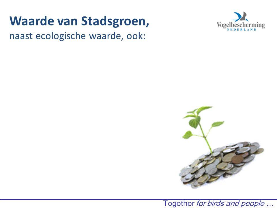 Waarde van Stadsgroen, naast ecologische waarde, ook: Together for birds and people …