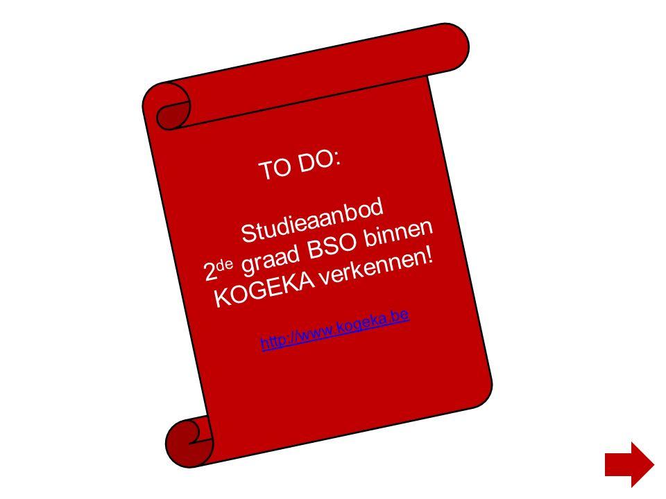 TO DO: Studieaanbod 2 de graad BSO binnen KOGEKA verkennen! http://www.kogeka.be