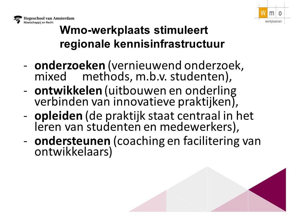 -onderzoeken (vernieuwend onderzoek, mixed methods, m.b.v. studenten), -ontwikkelen (uitbouwen en onderling verbinden van innovatieve praktijken), -op