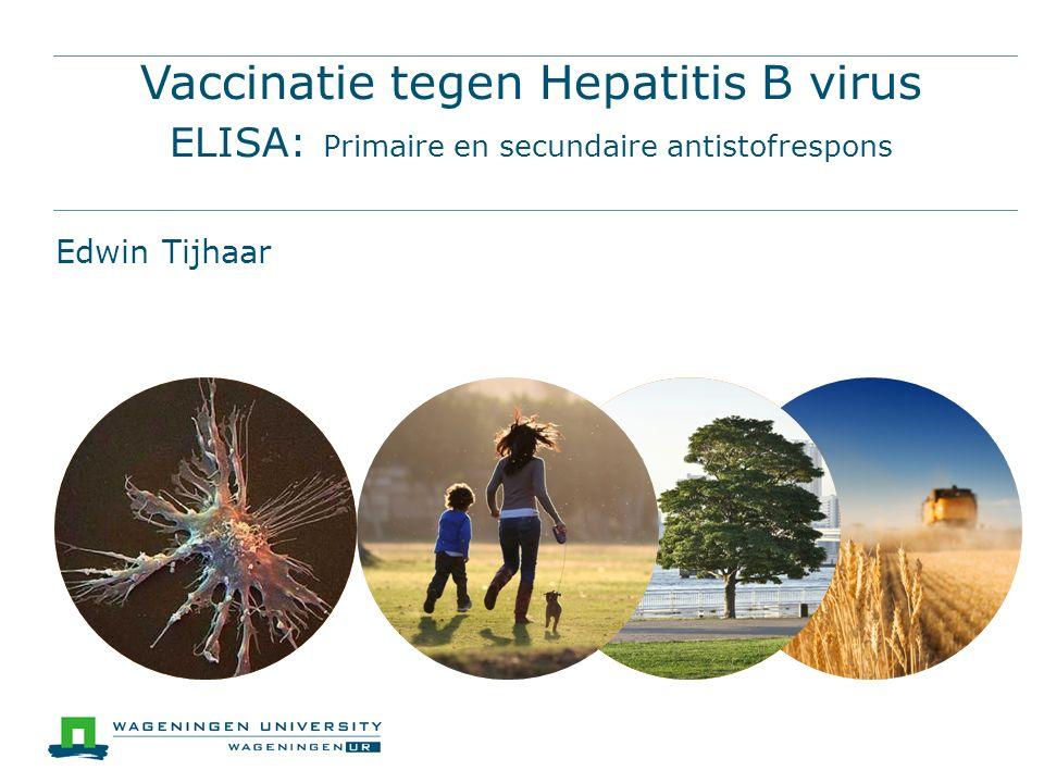 Vaccinatie tegen Hepatitis B virus ELISA: Primaire en secundaire antistofrespons Edwin Tijhaar