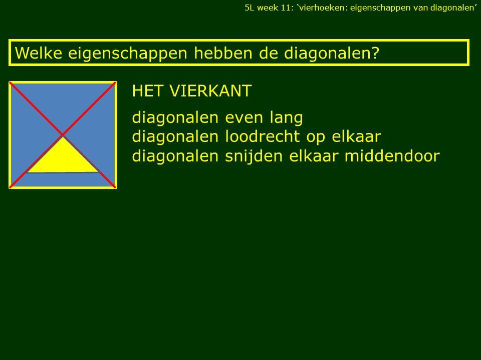 HET VIERKANT Welke eigenschappen hebben de diagonalen.