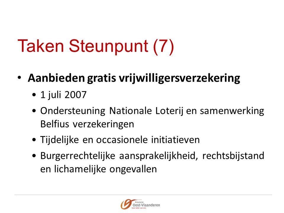 Taken Steunpunt (7) Aanbieden gratis vrijwilligersverzekering 1 juli 2007 Ondersteuning Nationale Loterij en samenwerking Belfius verzekeringen Tijdel