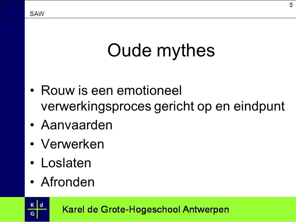 5 SAW Oude mythes Rouw is een emotioneel verwerkingsproces gericht op en eindpunt Aanvaarden Verwerken Loslaten Afronden