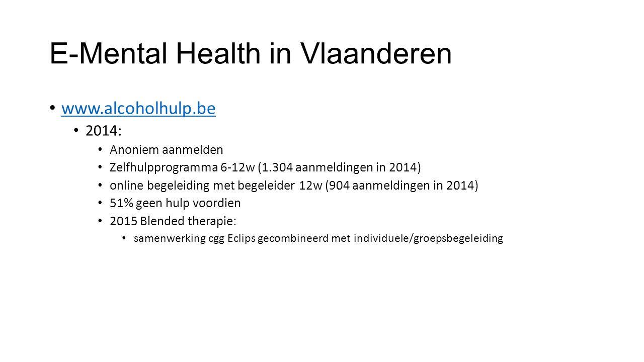 E-Mental Health in Vlaanderen www.alcoholhulp.be 2014: Anoniem aanmelden Zelfhulpprogramma 6-12w (1.304 aanmeldingen in 2014) online begeleiding met begeleider 12w (904 aanmeldingen in 2014) 51% geen hulp voordien 2015 Blended therapie: samenwerking cgg Eclips gecombineerd met individuele/groepsbegeleiding