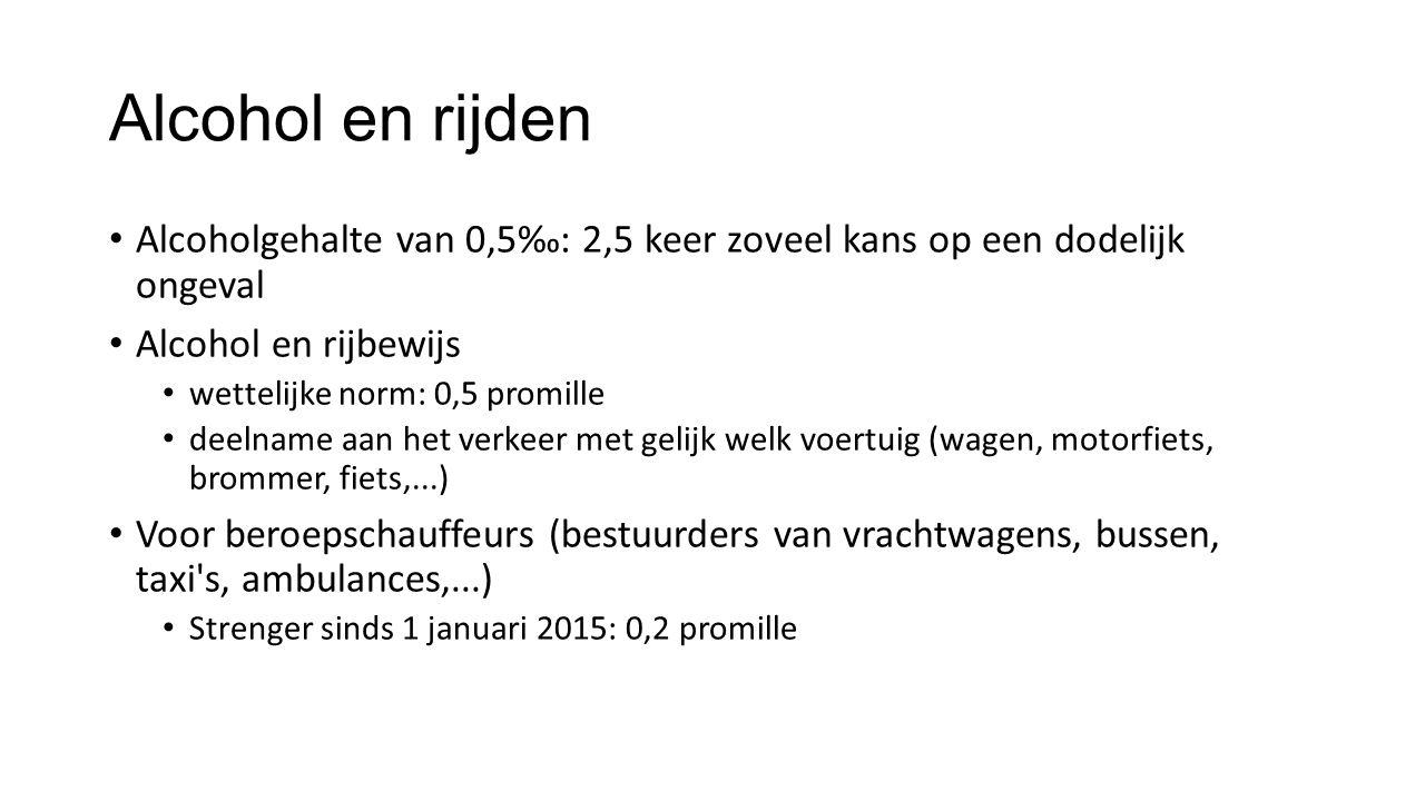 Alcohol en rijden Alcoholgehalte van 0,5‰: 2,5 keer zoveel kans op een dodelijk ongeval Alcohol en rijbewijs wettelijke norm: 0,5 promille deelname aan het verkeer met gelijk welk voertuig (wagen, motorfiets, brommer, fiets,...) Voor beroepschauffeurs (bestuurders van vrachtwagens, bussen, taxi s, ambulances,...) Strenger sinds 1 januari 2015: 0,2 promille