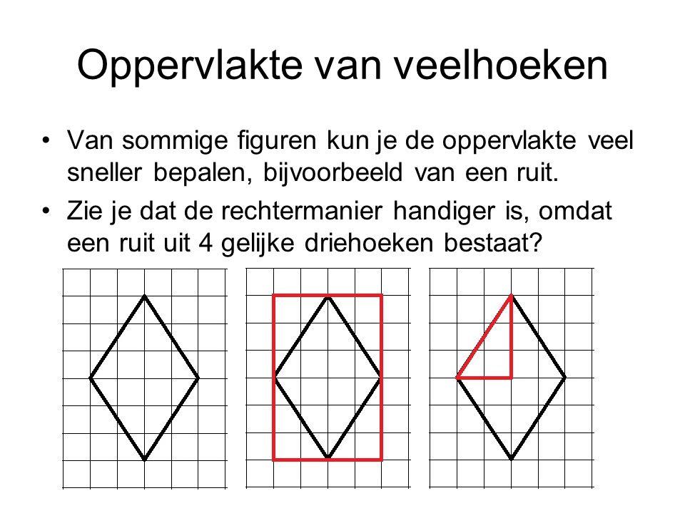 Oppervlakte van veelhoeken Van sommige figuren kun je de oppervlakte veel sneller bepalen, bijvoorbeeld van een ruit. Zie je dat de rechtermanier hand