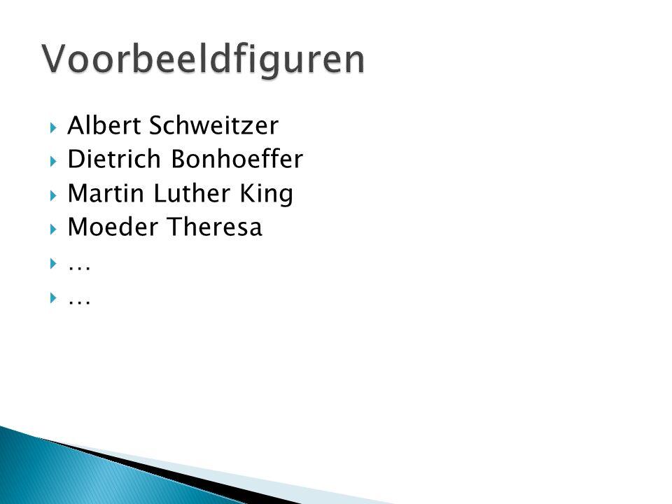  Albert Schweitzer  Dietrich Bonhoeffer  Martin Luther King  Moeder Theresa …… ……
