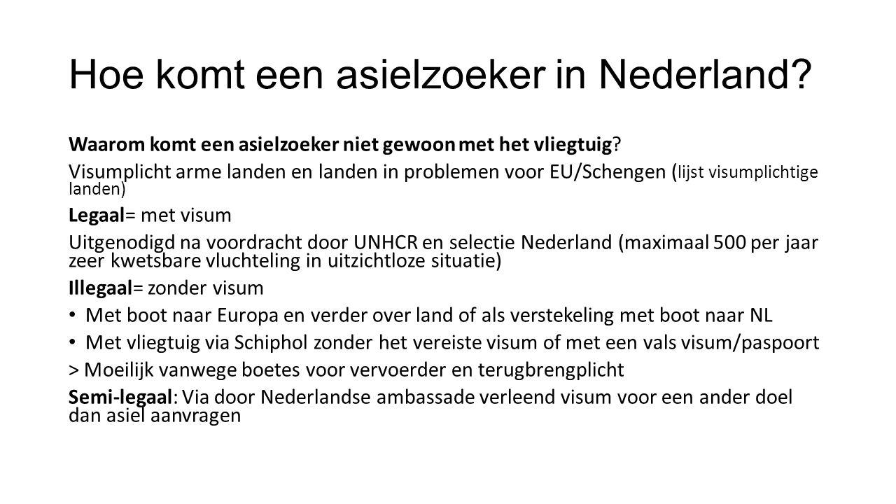 Hoe komt een asielzoeker in Nederland.Waarom komt een asielzoeker niet gewoon met het vliegtuig.