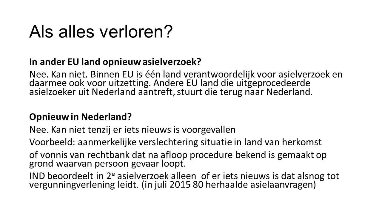 Als alles verloren.In ander EU land opnieuw asielverzoek.