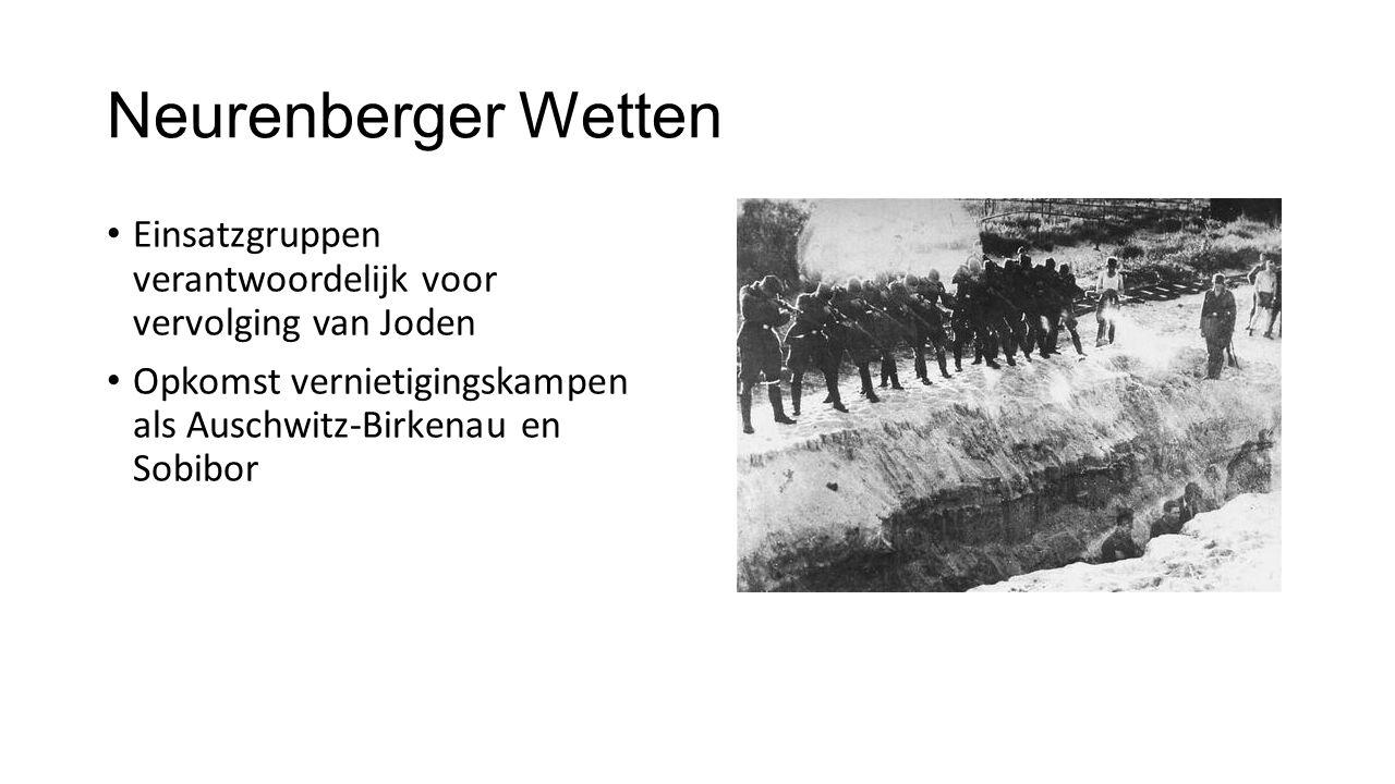 Neurenberger Wetten Einsatzgruppen verantwoordelijk voor vervolging van Joden Opkomst vernietigingskampen als Auschwitz-Birkenau en Sobibor