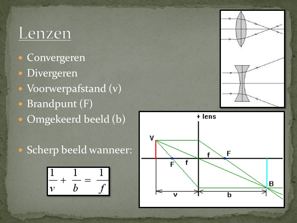 Convergeren Divergeren Voorwerpafstand (v) Brandpunt (F) Omgekeerd beeld (b) Scherp beeld wanneer:
