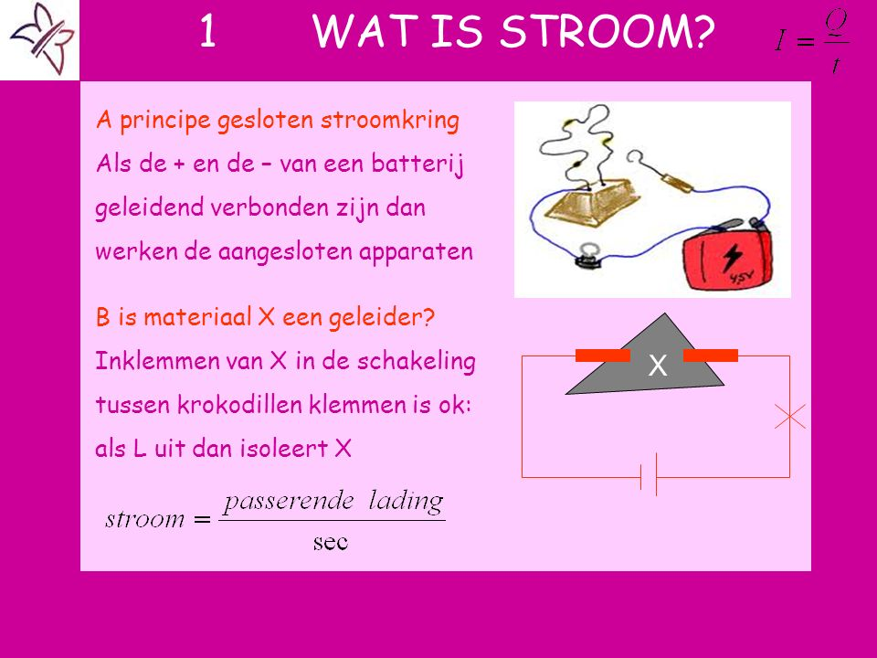 1 WAT IS STROOM? A principe gesloten stroomkring Als de + en de – van een batterij geleidend verbonden zijn dan werken de aangesloten apparaten B is m