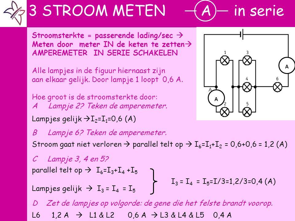 r Stroomsterkte = passerende lading/sec  Meten door meter IN de keten te zetten  AMPEREMETER IN SERIE SCHAKELEN Alle lampjes in de figuur hiernaast