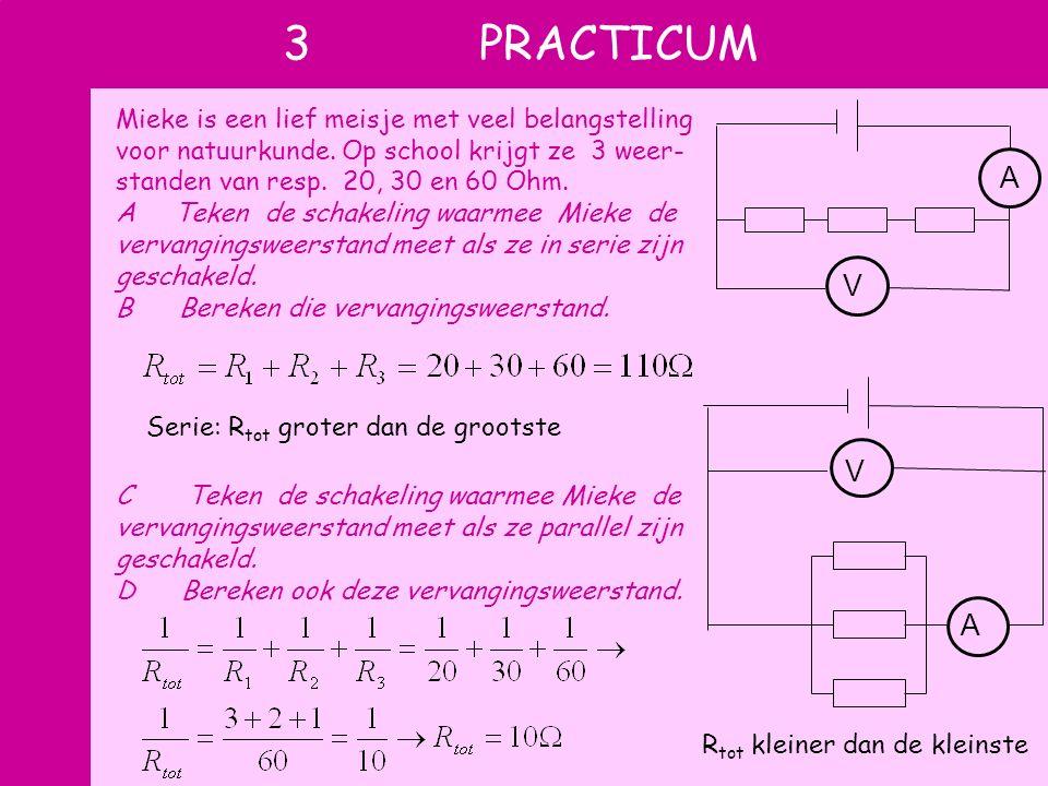 3 PRACTICUM Mieke is een lief meisje met veel belangstelling voor natuurkunde. Op school krijgt ze 3 weer- standen van resp. 20, 30 en 60 Ohm. A Teken