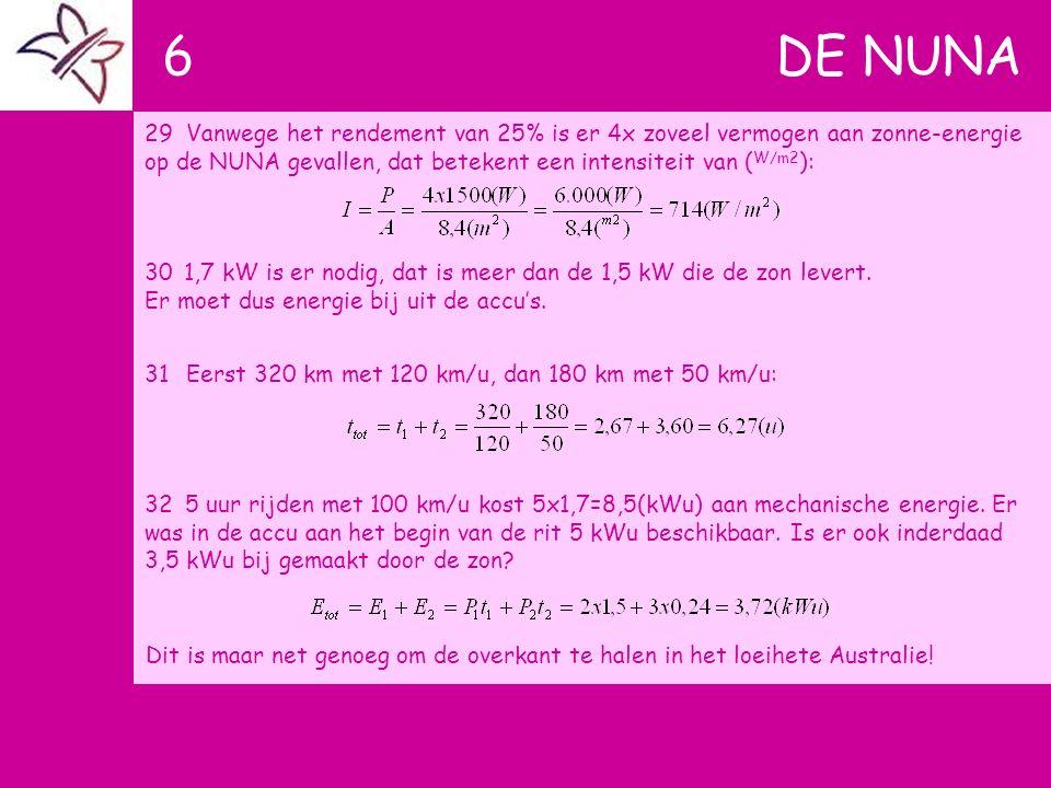 6 DE NUNA 29Vanwege het rendement van 25% is er 4x zoveel vermogen aan zonne-energie op de NUNA gevallen, dat betekent een intensiteit van ( W/m2 ): 3