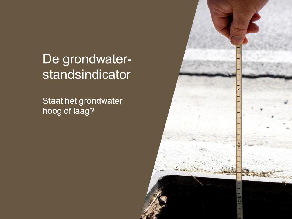 De grondwater- standsindicator Staat het grondwater hoog of laag?