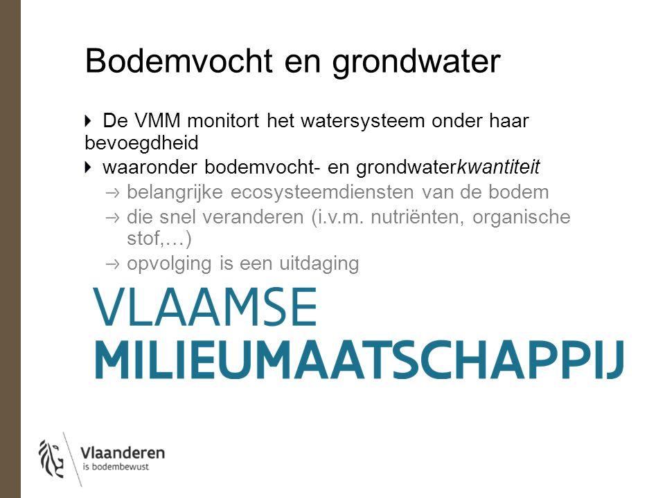 Bodemvocht en grondwater De VMM monitort het watersysteem onder haar bevoegdheid waaronder bodemvocht- en grondwaterkwantiteit belangrijke ecosysteemdiensten van de bodem die snel veranderen (i.v.m.