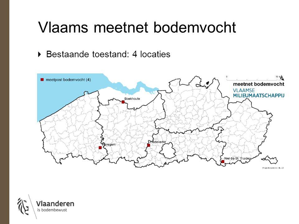 Vlaams meetnet bodemvocht Toekomst (2016): 24 locaties 2 types sensoren: contactsensor: lokaal bodemvocht op ≠ dieptes COSMSOS-sensor: gebiedsgemiddeld bodemvocht Ø 300m