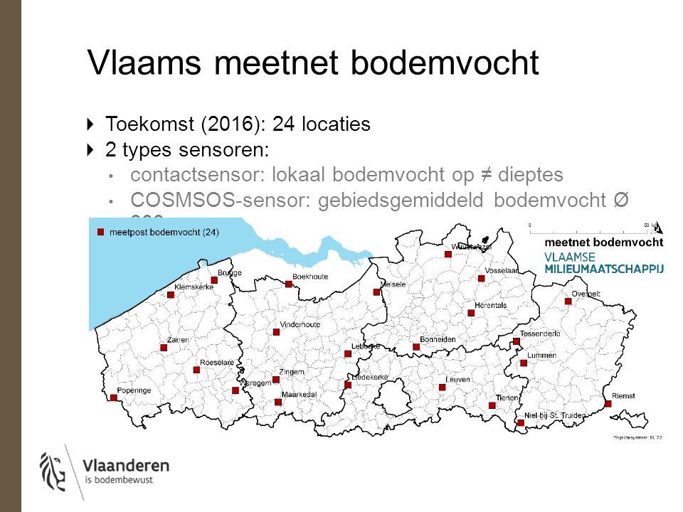 Vlaams meetnet bodemvocht Toekomst: 24 locaties 2 types sensoren: contactsensoren: lokaal bodemvocht op ≠ dieptes COSMSOS-sensor: gebiedsgemiddeld bodemvocht Ø 300m