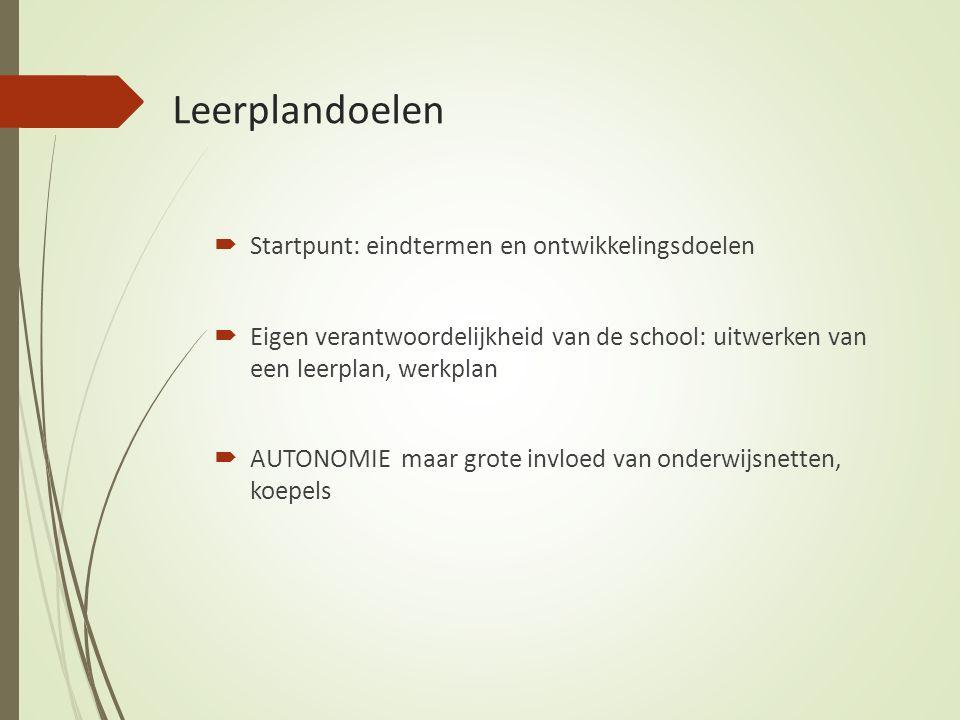 Leerplandoelen  Startpunt: eindtermen en ontwikkelingsdoelen  Eigen verantwoordelijkheid van de school: uitwerken van een leerplan, werkplan  AUTONOMIE maar grote invloed van onderwijsnetten, koepels