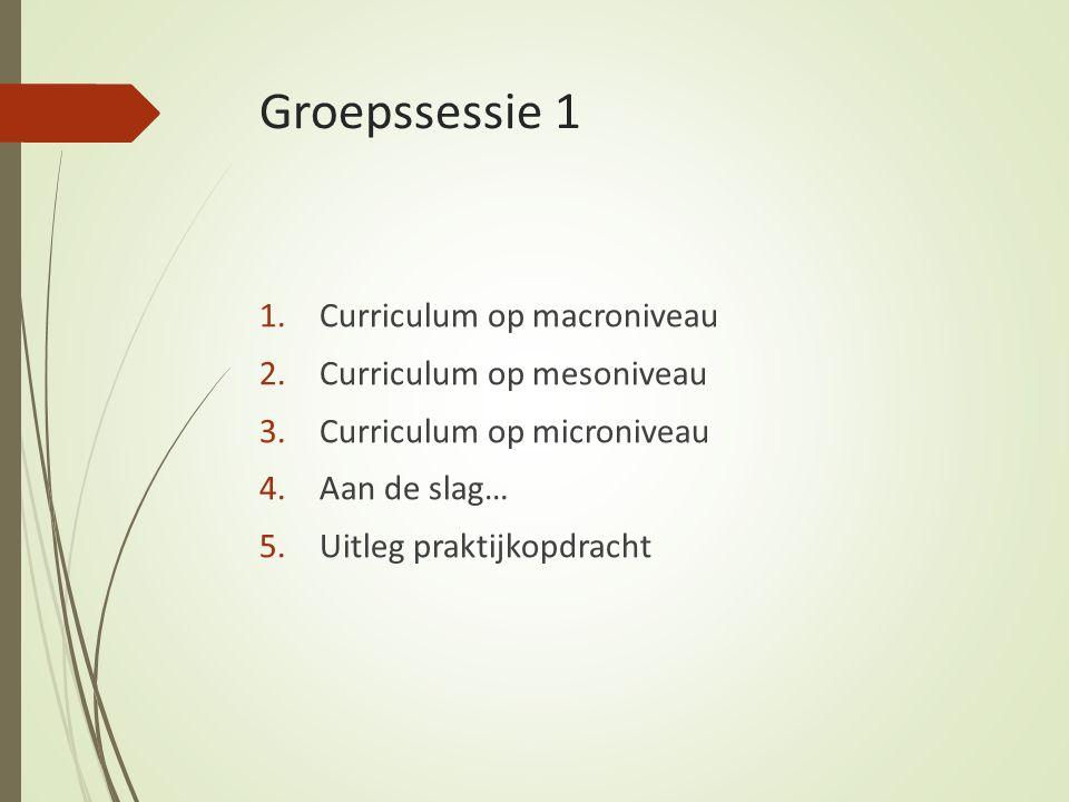 Groepssessie 1 1.Curriculum op macroniveau 2.Curriculum op mesoniveau 3.Curriculum op microniveau 4.Aan de slag… 5.Uitleg praktijkopdracht