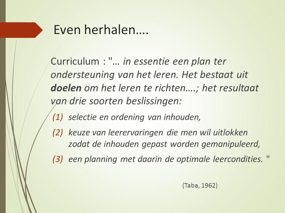 Even herhalen….Curriculum : … in essentie een plan ter ondersteuning van het leren.