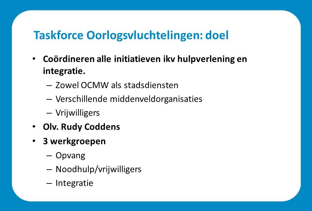Taskforce Oorlogsvluchtelingen: doel Coördineren alle initiatieven ikv hulpverlening en integratie.