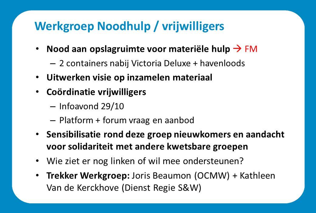 Werkgroep Integratie Focus: na goedgekeurde asielaanvraag Effect pas zichtbaar binnen 6 à 9 maanden Verschillende domeinen: – Huisvesting  Dienst Wonen (Annemie Van Hoecke) – Onderwijs en kinderopvang  Dept.