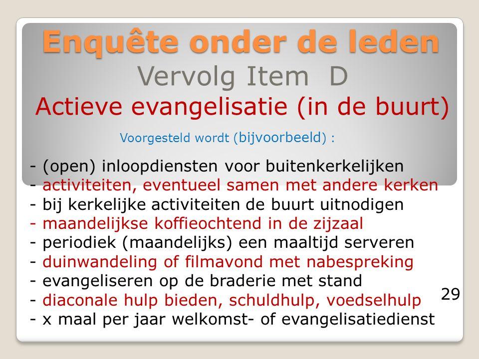 Enquête onder de leden Vervolg Item D Actieve evangelisatie (in de buurt) - (open) inloopdiensten voor buitenkerkelijken - activiteiten, eventueel sam