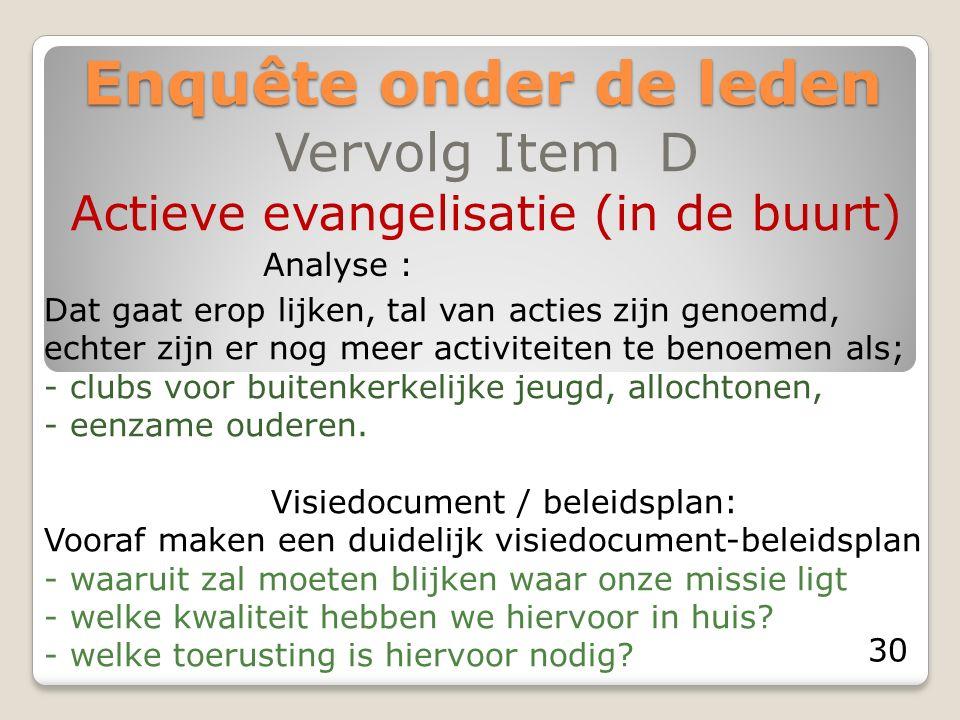 Enquête onder de leden Vervolg Item D Actieve evangelisatie (in de buurt) Analyse : Dat gaat erop lijken, tal van acties zijn genoemd, echter zijn er