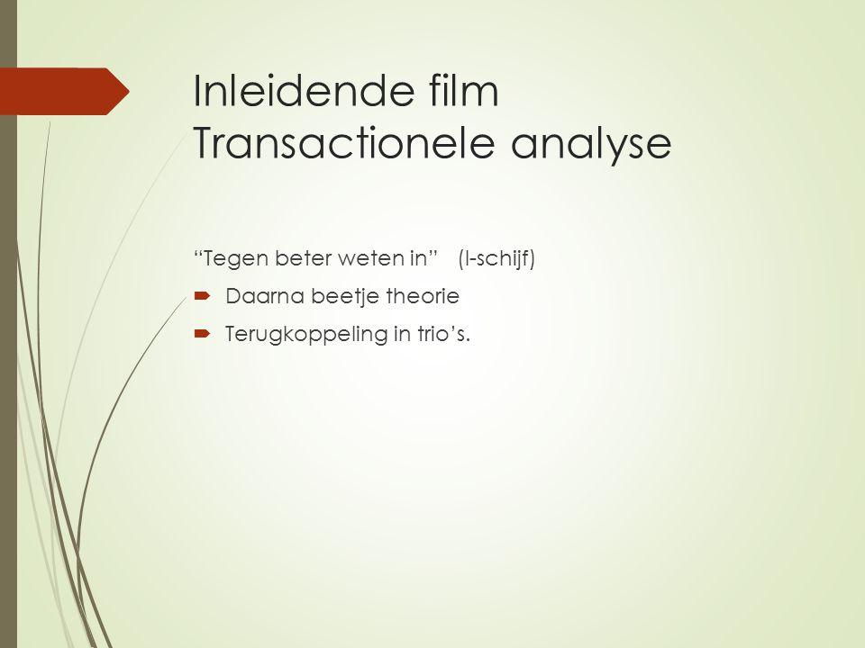 Inleidende film Transactionele analyse Tegen beter weten in (I-schijf)  Daarna beetje theorie  Terugkoppeling in trio's.