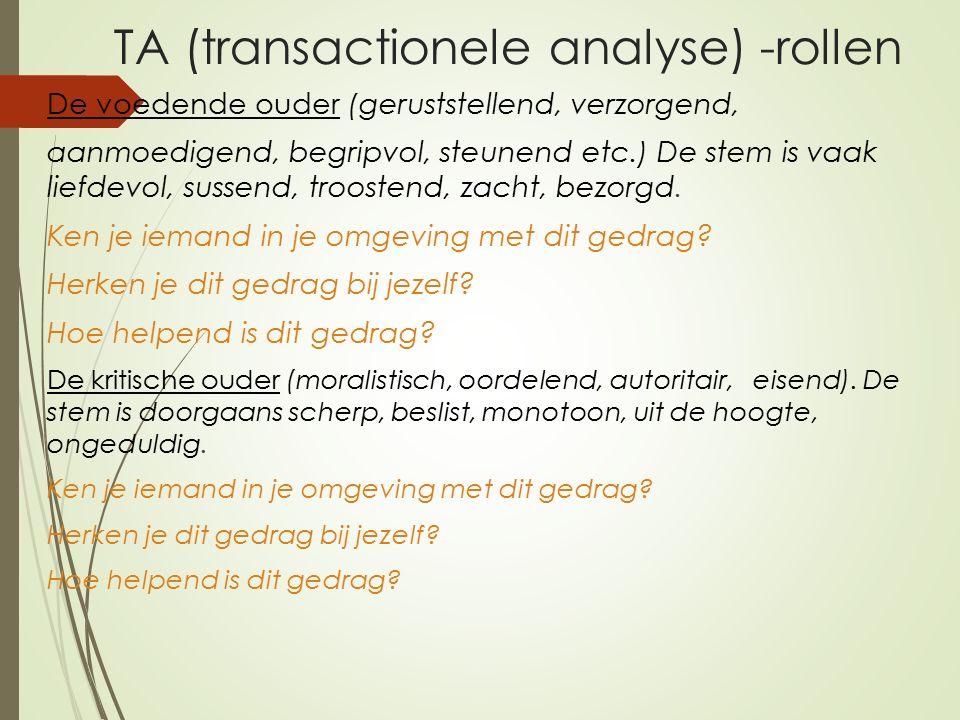 TA (transactionele analyse) -rollen De voedende ouder (geruststellend, verzorgend, aanmoedigend, begripvol, steunend etc.) De stem is vaak liefdevol, sussend, troostend, zacht, bezorgd.