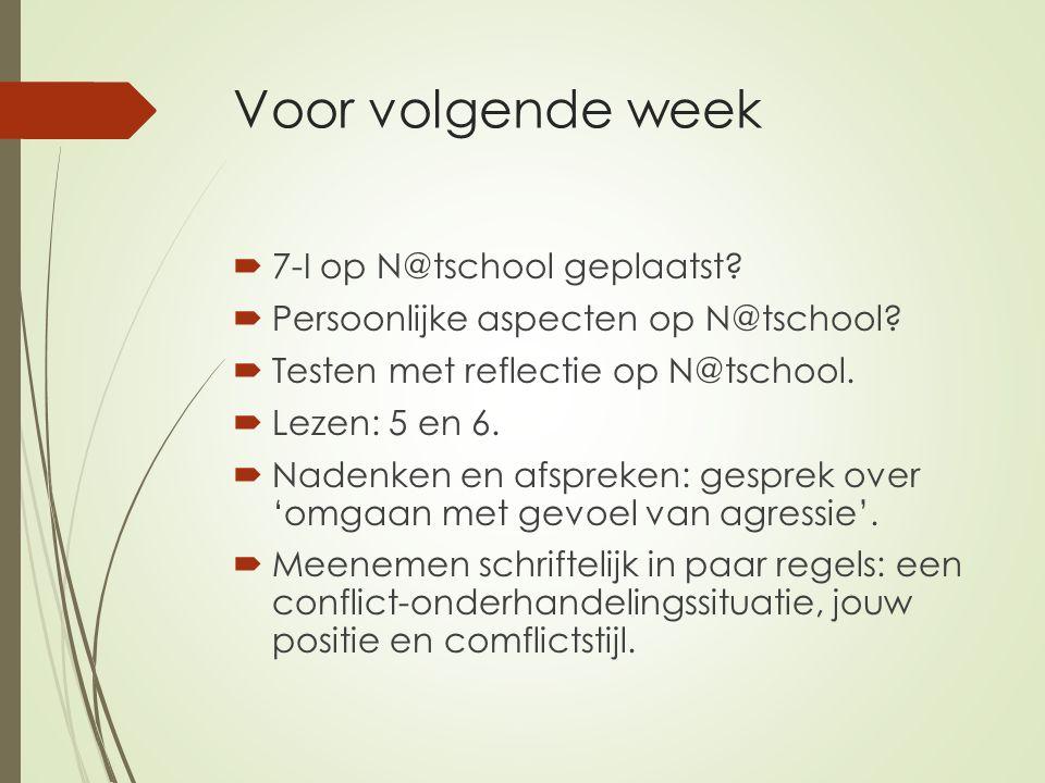 Voor volgende week  7-I op N@tschool geplaatst. Persoonlijke aspecten op N@tschool.