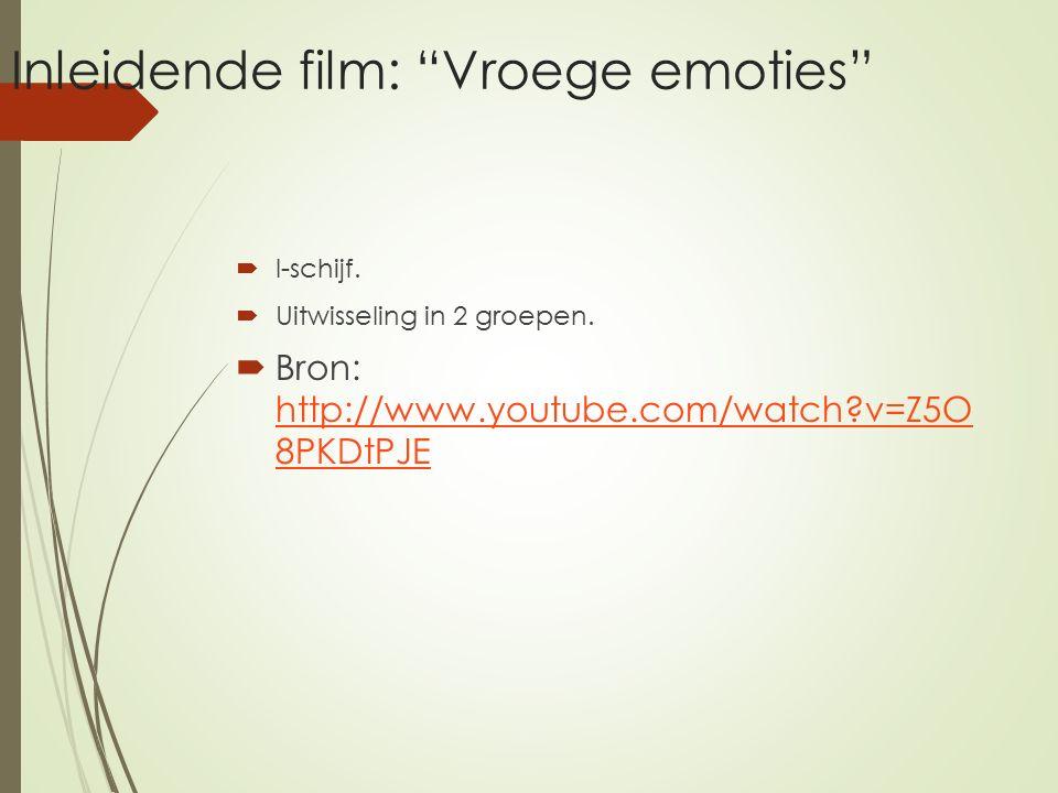 Inleidende film: Vroege emoties  I-schijf. Uitwisseling in 2 groepen.